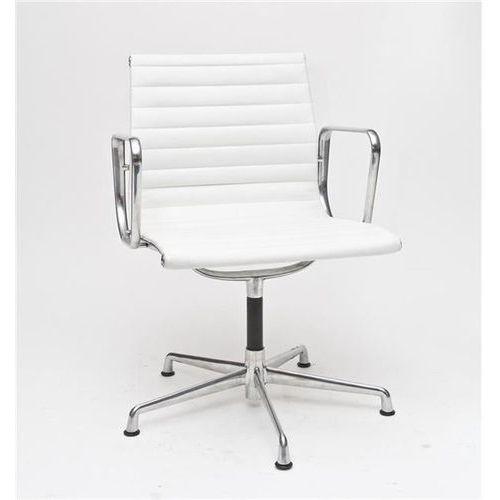 Fotel konferencyjny CH1081 inspirowany EA108 skóra, chrom - biały