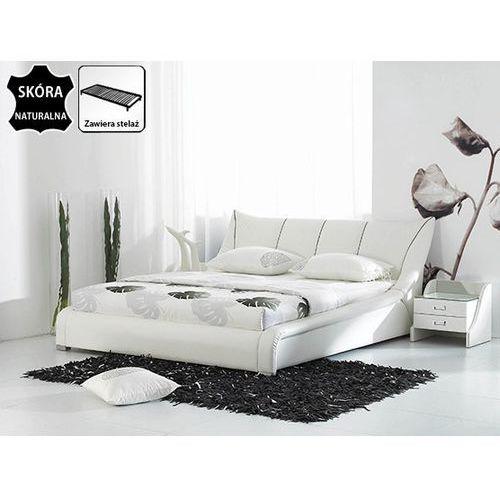 OKAZJA - Nowoczesne skórzane łóżko 160x200 cm - ze stelażem - NANTES