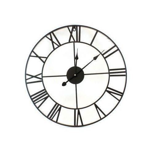 Metalowy zegar ścienny retro 3d - czarny (śr. 58cm). marki S.t.i. ltd.