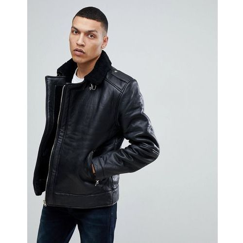 Bellfield leather aviator jacket with borg lining - black