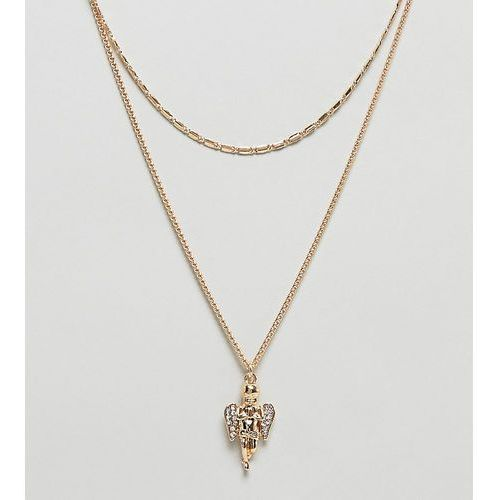 Asos curve Asos design curve multirow necklace with vintage style cherub pendant in gold - gold