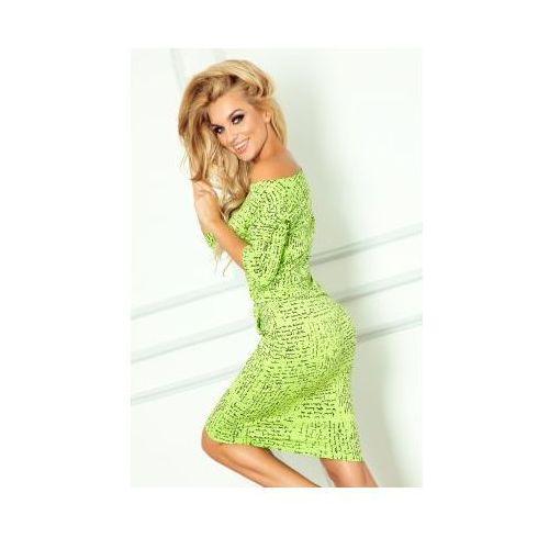 13-35 sukienka sportowa - papirus napis + zielony marki Numoco