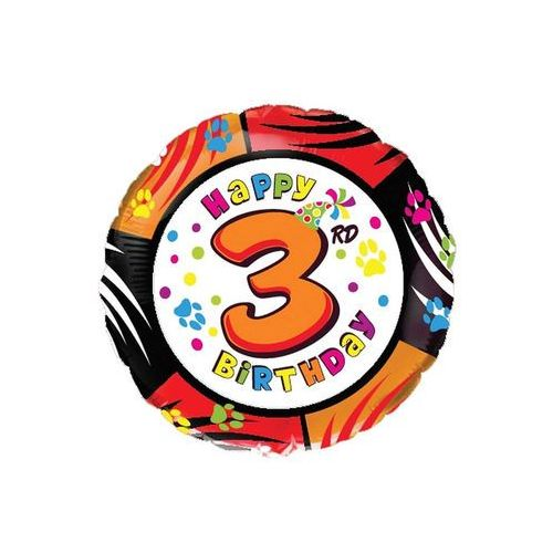 Flexmetal balloons Balon foliowy 3rd happy birthday 18'' 1 szt.