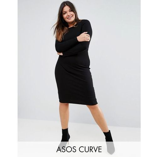 ASOS CURVE Midi Bodycon Dress in Rib with Long Sleeves - Black