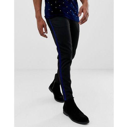 Burton Menswear slim fit trousers with cobalt velvet side stripe in black - Black, kolor czarny