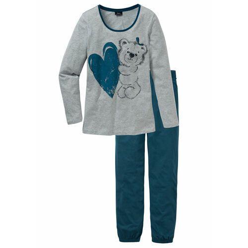Piżama niebieskozielony z nadrukiem marki Bonprix