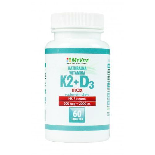 Tabletki Witamina K2 MK-7 K2MK7 MAX 200mcg + D3 2000IU 60 tabletek MyVita
