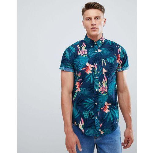 Hollister short sleeve poplin floral print shirt slim fit in navy floral - Navy