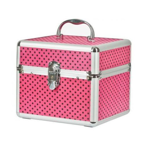 Neonail kuferek kosmetyczny różowy w groszki