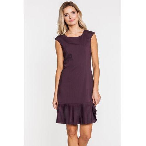 Sobora Fioletowa sukienka z ozdobnym plisowaniem -