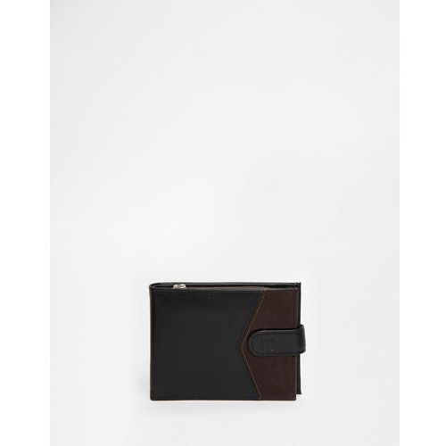 River Island Leather Wallet With Blocked Chevron Detail In Black - Black