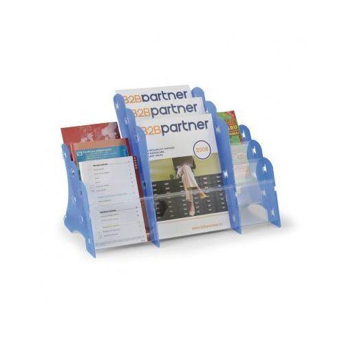 B2b partner Plastikowy stojak na ulotki, stołowy, 3xa4/3xa5/3xdl, niebieski