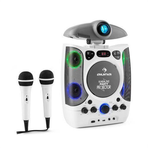 karaprojectura zestaw karaoke z projektorem gra świateł led usb biały marki Auna