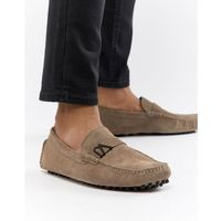 jeans driving shoes in tan suede - tan marki Versace