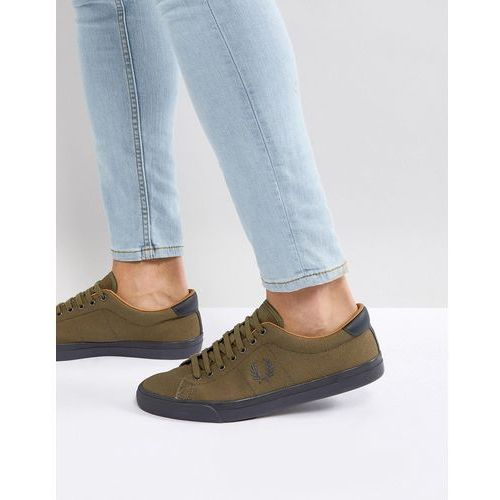 underspin heavy waxed canvas trainers in khaki - green, Fred perry