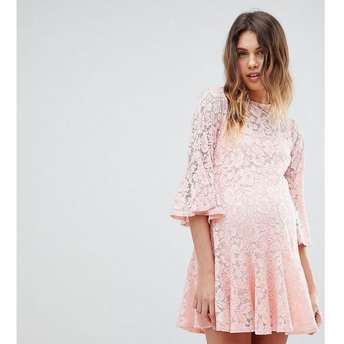 Queen bee allover lace smock dress - pink