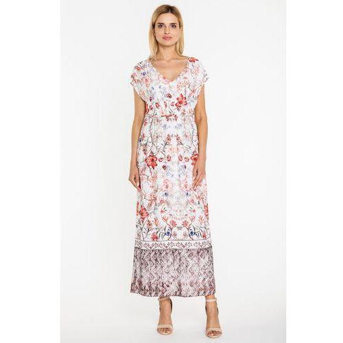 Kwiecista sukienka w długości maxi - Vito Vergelis, kolor biały