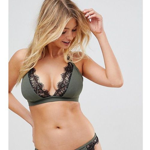 Wolf & Whistle Fuller Bust Exclusive lace cami bikini top B - F Cup in khaki - Green