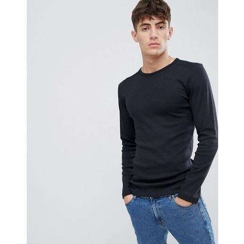 Esprit organic cotton muscle fit ribbed long sleeve top - black