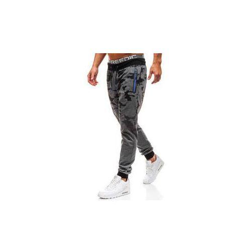 Spodnie męskie dresowe joggery moro-grafitowe denley kk512, J.style