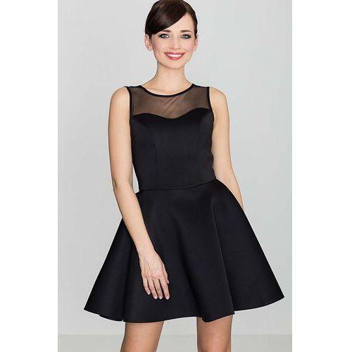 Czarna Wyjściowa Rozkloszowana Sukienka bez Rękawów z Prześwitującym Karczkiem, w 4 rozmiarach