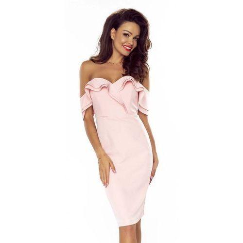 Jasnoróżowa Wieczorowa Ołówkowa Sukienka bez Ramiączek, kolor różowy
