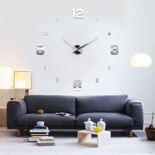 Duży zegar ścienny 3D srebrny KLASYCZNY srebrny większa niż 50 cm