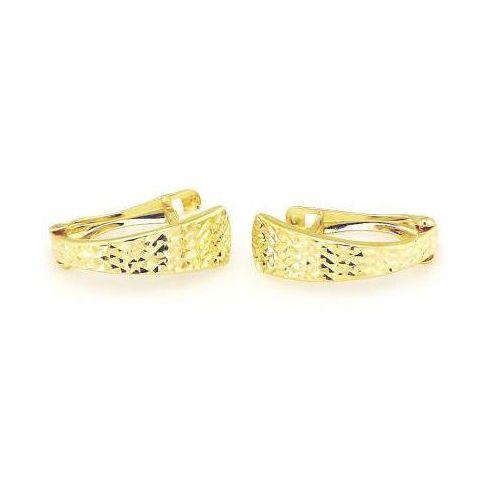 Lovrin Złote kolczyki 585 przecinki z diamentowaniem 14kt