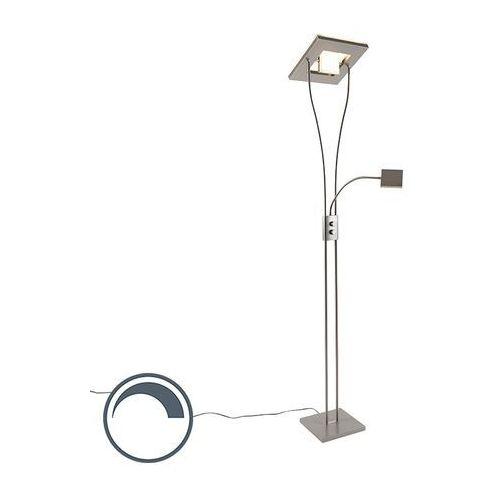 Leuchten direct Nowoczesna lampa podłogowa kwadratowa z ramieniem do czytania stal zawiera led - helia
