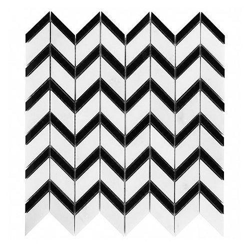 b&w black & white mozaika kamienna pure white chevron mix marki Dunin