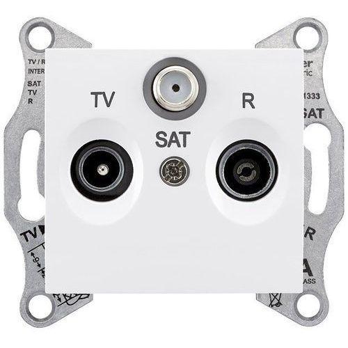 Sedna gniazdo antenowe RTV/SAT Schneider końcowe podtynkowe 1dB bez ramki białe SDN3501321, SDN3501321