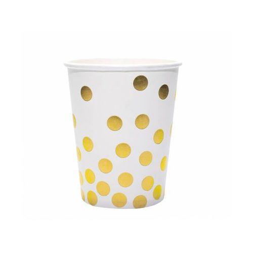 Kubeczki papierowe białe w złote grochy - 260 ml - 6 szt.