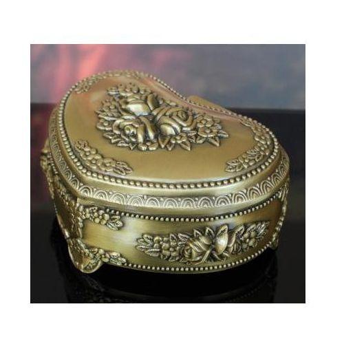 Szkatułka kuferek stare złoto Serce