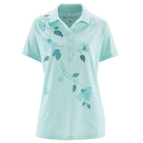 Shirt polo pastelowy miętowy - niebieski mineralny z nadrukiem marki Bonprix