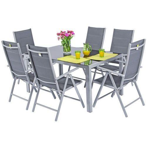 Edomator.pl Meble ogrodowe składane aluminiowe wenecja stół i 6 krzeseł - srebrne