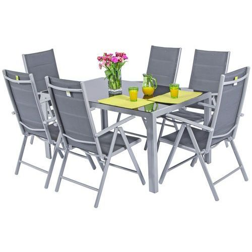 Meble ogrodowe składane aluminiowe wenecja stół i 6 krzeseł - srebrne marki Edomator.pl. Najniższe ceny, najlepsze promocje w sklepach, opinie.