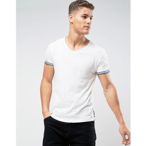 Tom Tailor T-Shirt With Scoop Neck And Print Hem - White, kolor biały