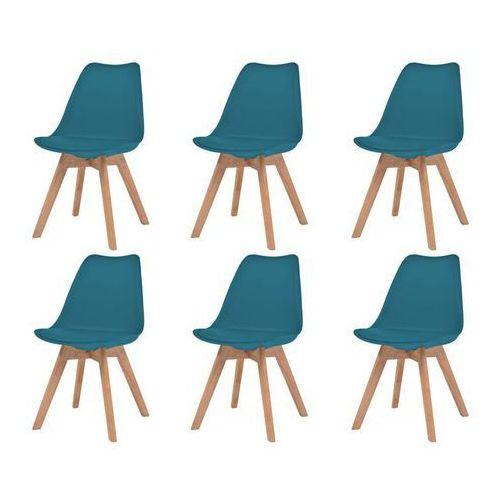 Krzesła, 6 sztuk, sztuczna skóra, lite drewno, turkusowe
