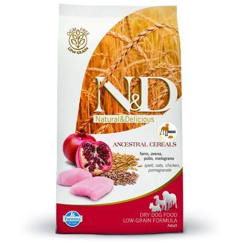 n&d maxi adult dog low grain, kurczak i owoc granatu - 12 kg marki Farmina
