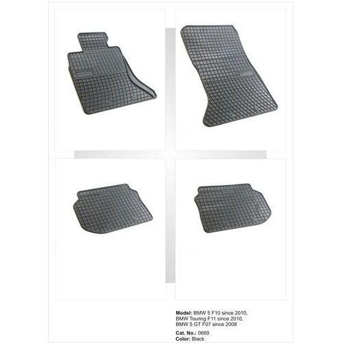 Dywaniki gumowe czarne z kompletem stoperów - bmw seria 5 (f10, f11) 2010-2013 marki Frogum