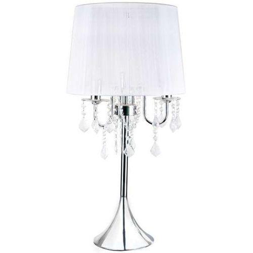 Stojąca lampa stołowa mona lp-5005/1t sl nocna lampka abażurowa z kryształkami glamour crystal srebrna marki Light prestige