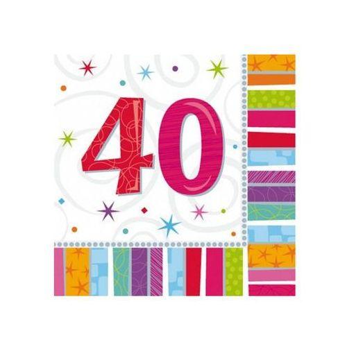 Amscan Serwetki urodzinowe na czterdzieste urodziny - 40tka - 33 x 33 cm - 16 szt.