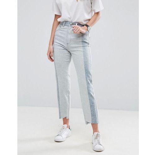 deconstructed straight leg jeans in tonal 80s bleach light acid wash - blue marki Asos