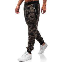 T&c star Spodnie męskie dresowe joggery moro zielone denley tc874
