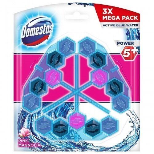 Domestos power 5+ niebieska woda kostkawc pink 3x53g