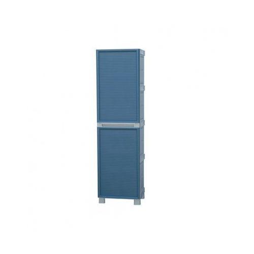 Plastikowa szafa na przyrządy do sprzątania, drzwi niebieskie, marki B2b partner
