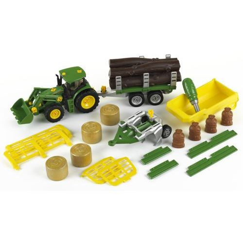 Klein Traktor z 3 wywrotkami i pługiem John Deere (4009847039071)