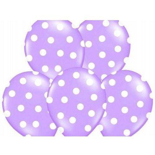 Ap Balony lawendowe w białe kropki - 37 cm - 5 szt.