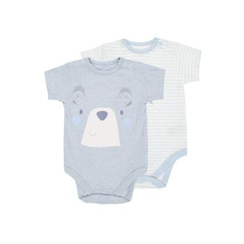 mothercare GRAPHIC AND STRIPE BODYSUIT 2 PACK Body pale blue, kolor niebieski