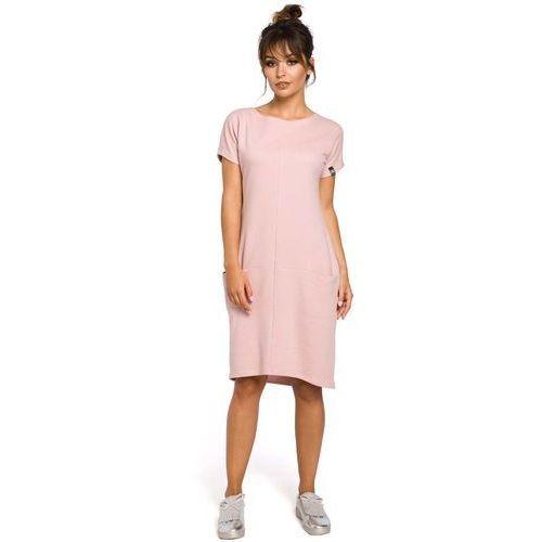 Dresowa Pudrowa Sukienka Midi z Kieszeniami w Szwach, EB050pud